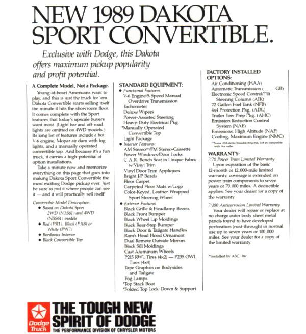1989 - 1991 Dodge Dakota Convertible Truck Factory Advertisement