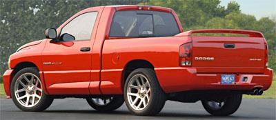 2004 Dodge Ram SRT-10 in red.
